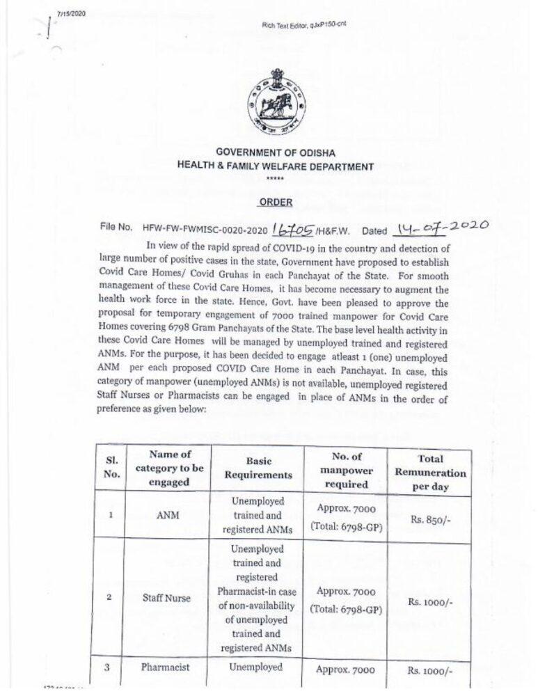 CDMO Office Recruitment 2020 - Jobs in Odisha