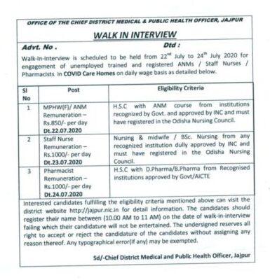 Jajpur CDMO Office Recruitment 2020