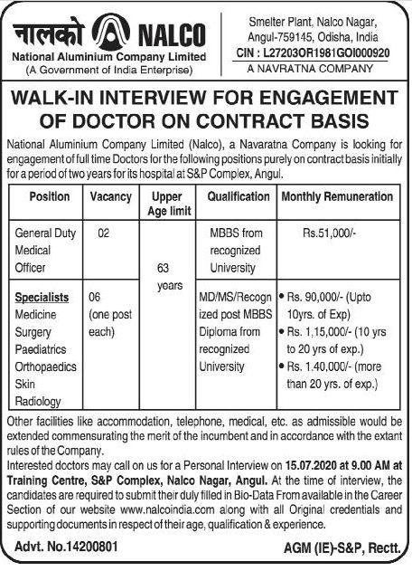 NALCO Contractual Doctor Recruitment 2020