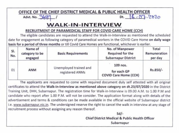 Subarnapur CDMO Office Recruitment 2020