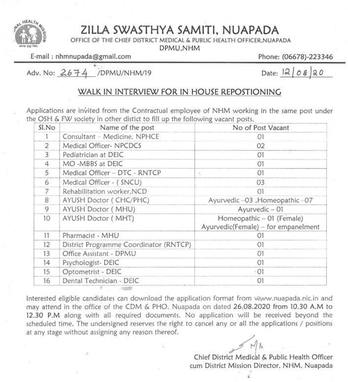 Nuapada Zilla Swasthya Samiti Recruitment 2020