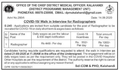 Kalahandi CDMO Office Recruitment 2020