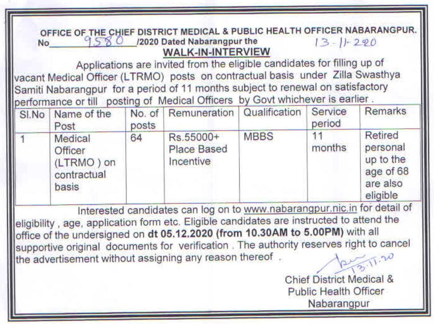 Nabarangpur CDMO Office Recruitment 2020